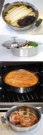 Différentes utilisation pour la Sauteuse : cuisson douce , grillades, gration au four ...