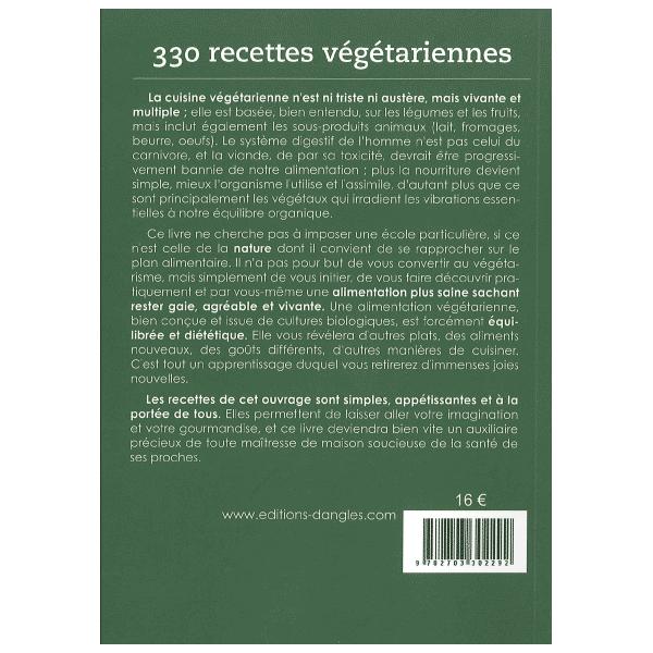 livre 330 recettes vegetariennes - dos