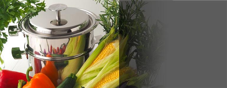 Ensemble de cuisson Baumstal en inox 18/10 et légumes