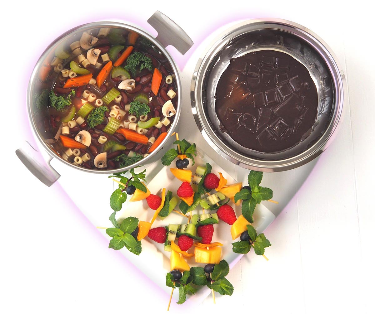 repas de saint valentin : minestrone et fondue au chocolat