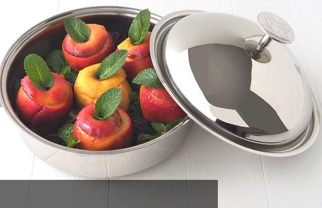 Sauteuse Cuisson Douce - Une sauteuse en inox avec couvercle cloche en inox pour un volume de cuisson optimisé