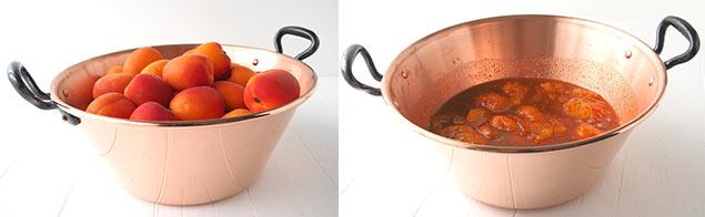 Préparation d'une confiture d'abricots dans une bassine en cuivre
