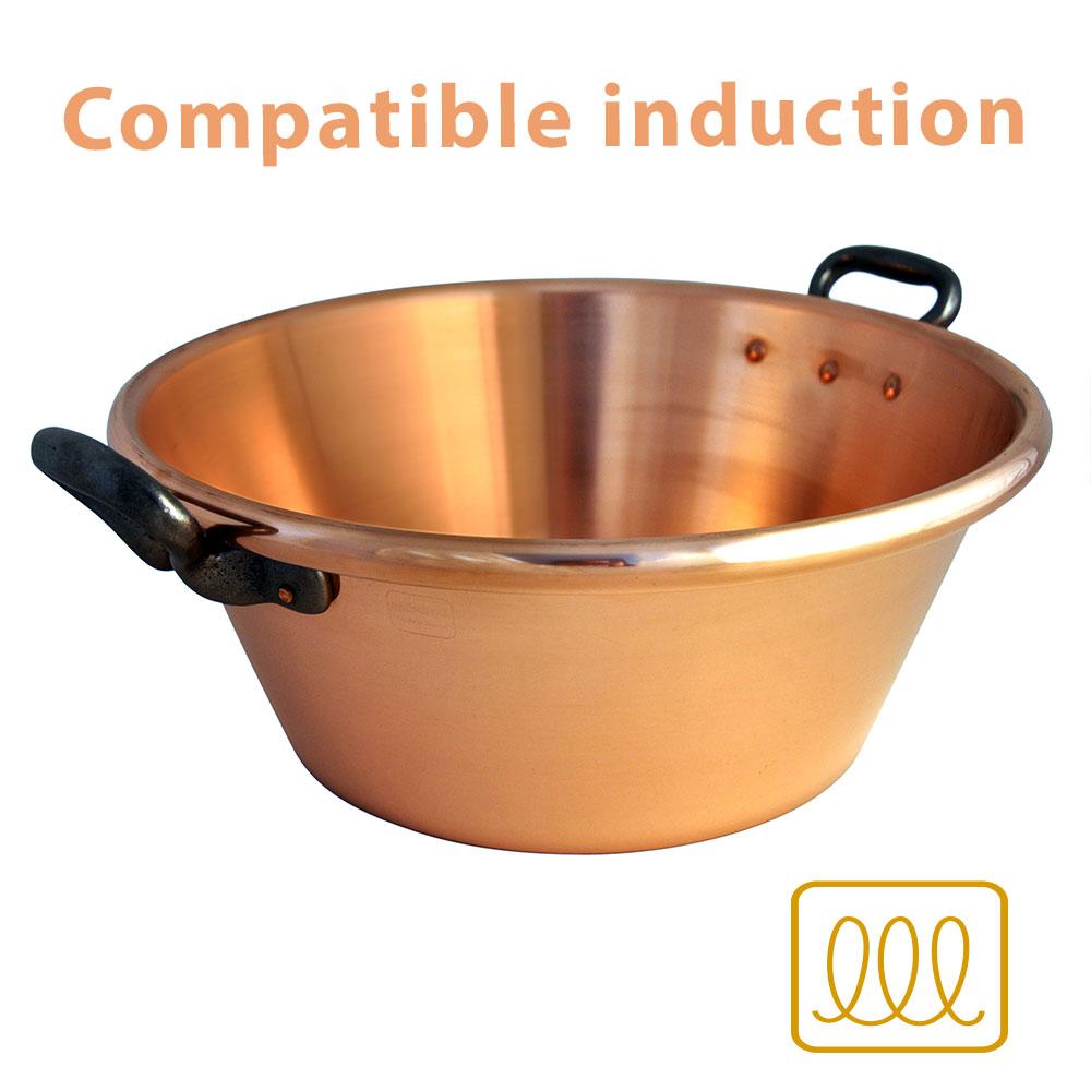 Bassine à confiture en cuivre compatible induction