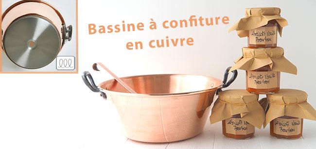 Bassine à confiture en cuivre avec un fond en inox compatible avec les plaques de cuisson à induction